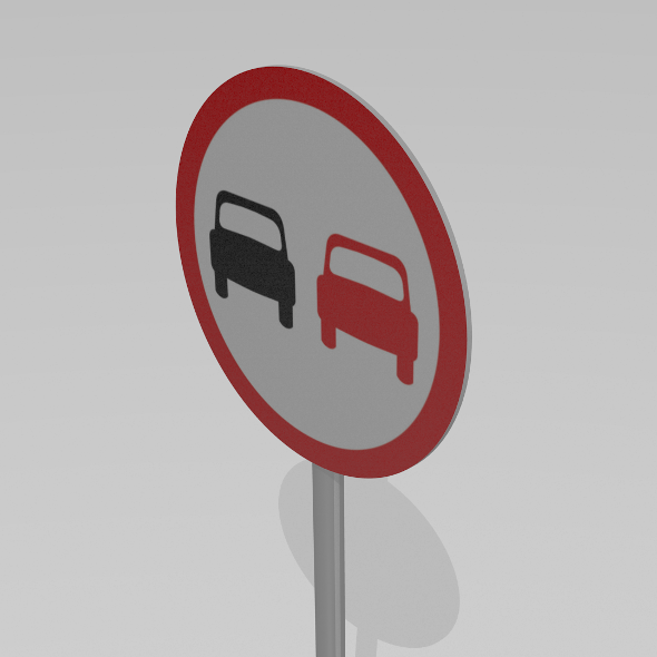 No overtaking sign - 3DOcean Item for Sale