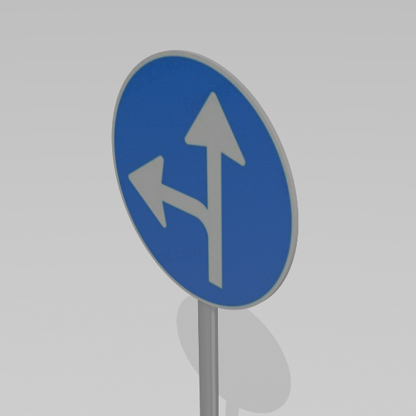 Turn left or straight sign - 3DOcean Item for Sale