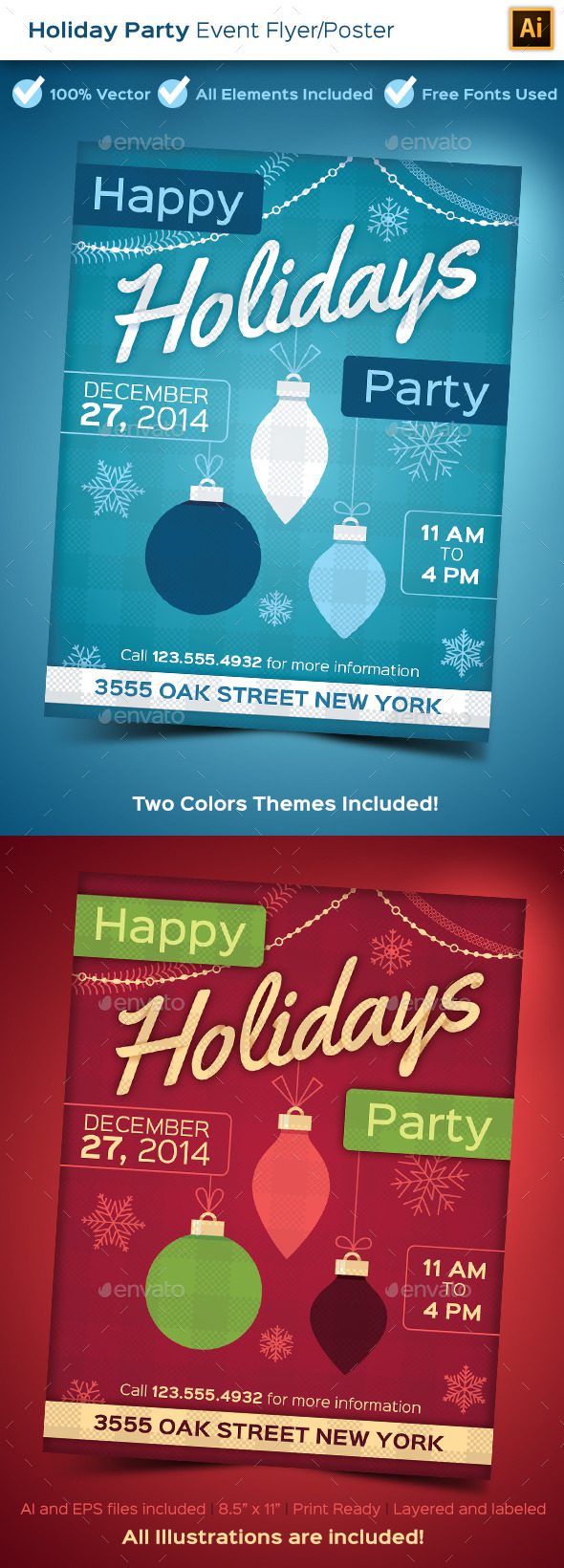 Holiday Party Poster - Holidays Events