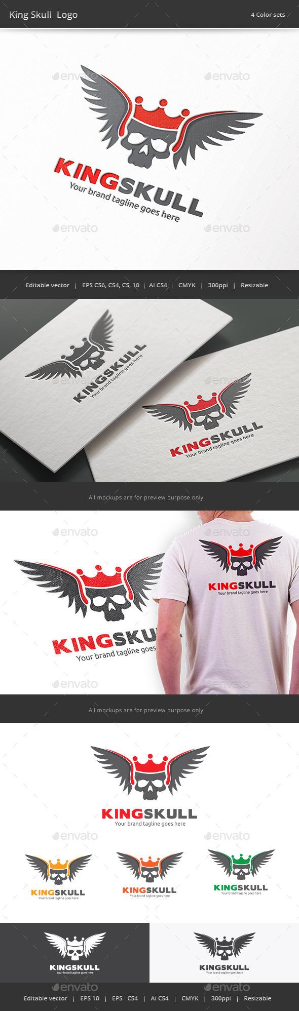 King Skull Logo - Objects Logo Templates