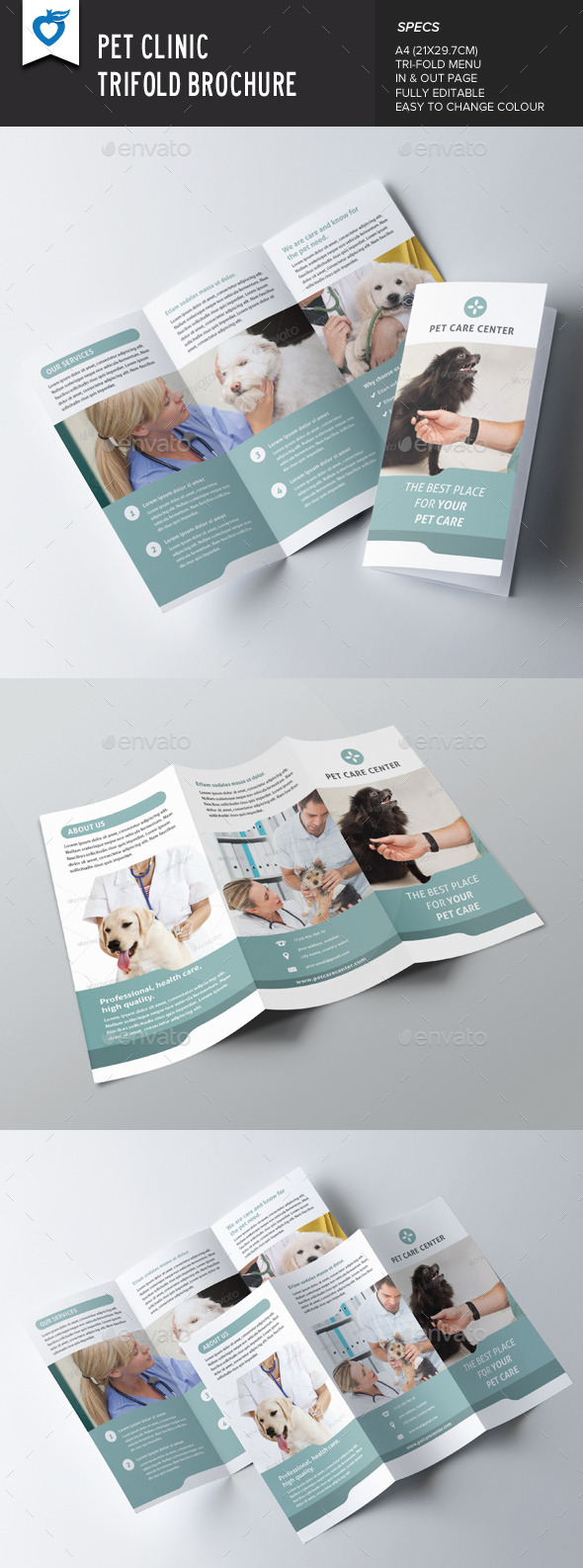 Pet Clinic Trifold Brochure - Corporate Brochures