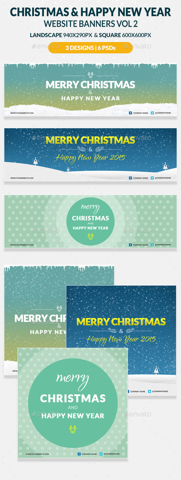 Christmas And Happy New Year Website Banners Vol 2 - Web Elements