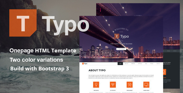 Typo - One Page HTML5 Template - Creative Site Templates