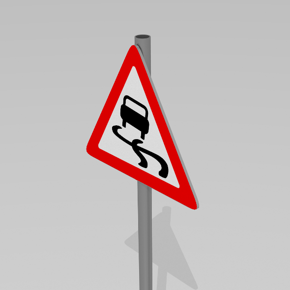 Slippery road sign - 3DOcean Item for Sale