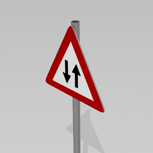 Two way traffic sign - 3DOcean Item for Sale