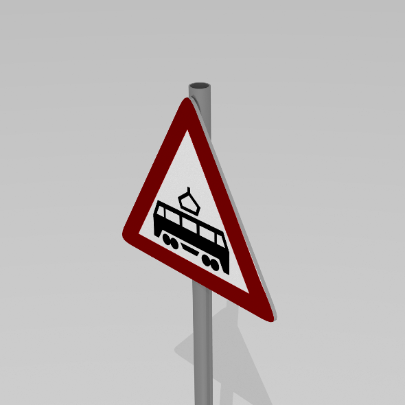 Tram crossing sign - 3DOcean Item for Sale