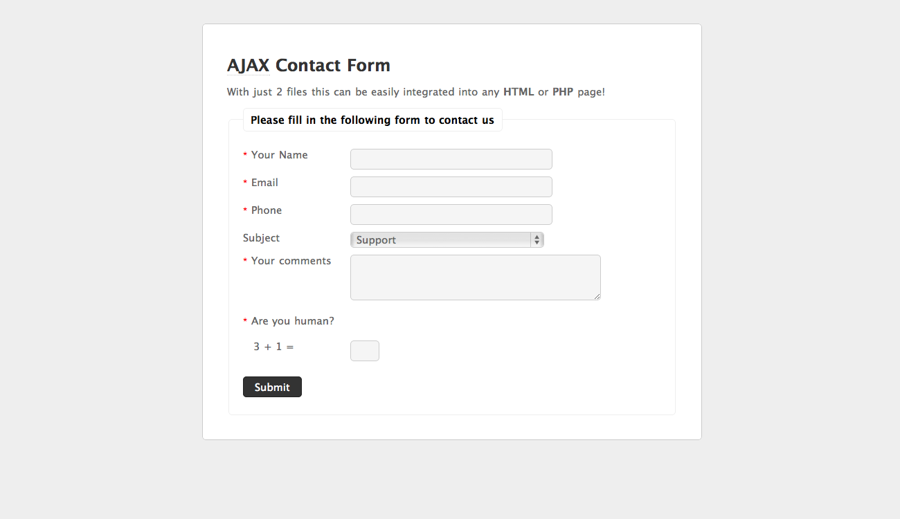 AJAX Contact Form by jigowatt | CodeCanyon