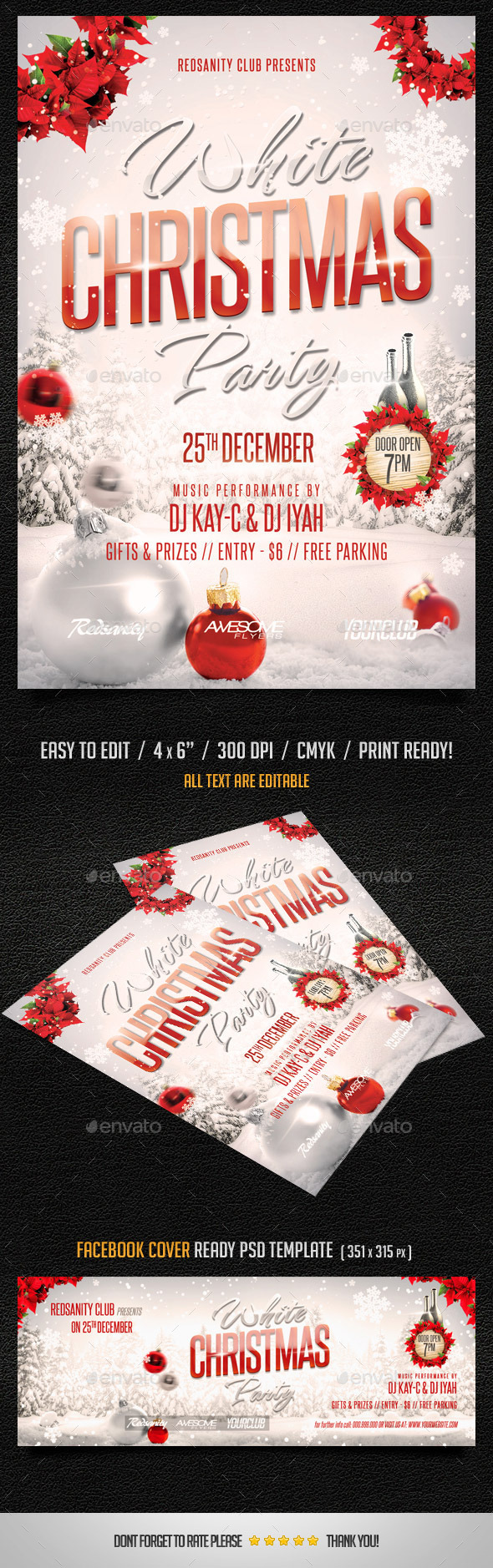 White Christmas Party Flyer plus FB Cover - Holidays Events