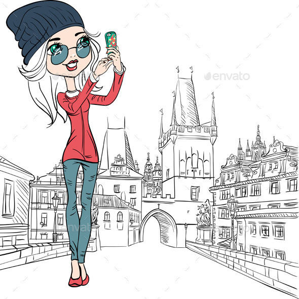 Girl Makes Selfie in Prague - People Characters