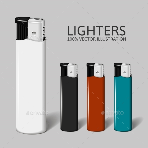 Realistic Set of Lighters for your Brand - Objects Vectors