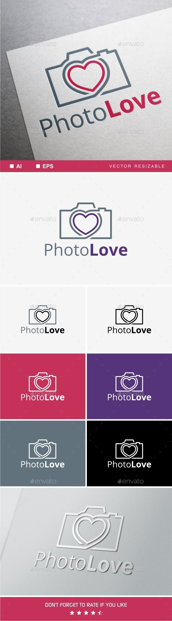 Photo Love Logo - Symbols Logo Templates