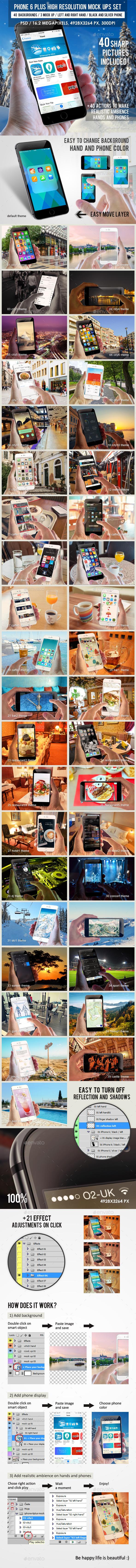 Phone 6 Plus High Resolution Mock Up Set - Mobile Displays