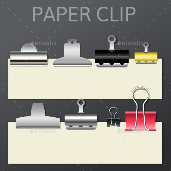 Set of Different Paper Clips for Your Design - Objects Vectors