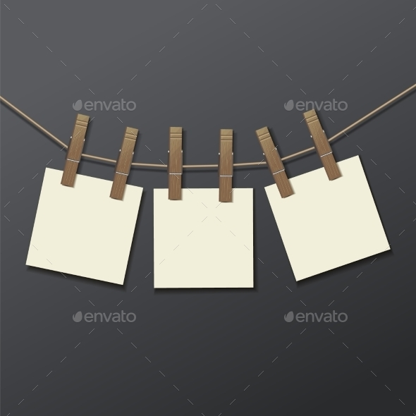 Photo Frame with Clothespins - Objects Vectors