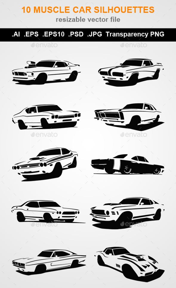 10 Muscle Car Silhouettes  - Man-made Objects Objects
