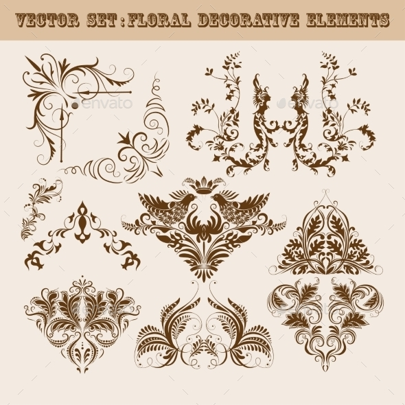Set of Floral Decorative Elements - Patterns Decorative