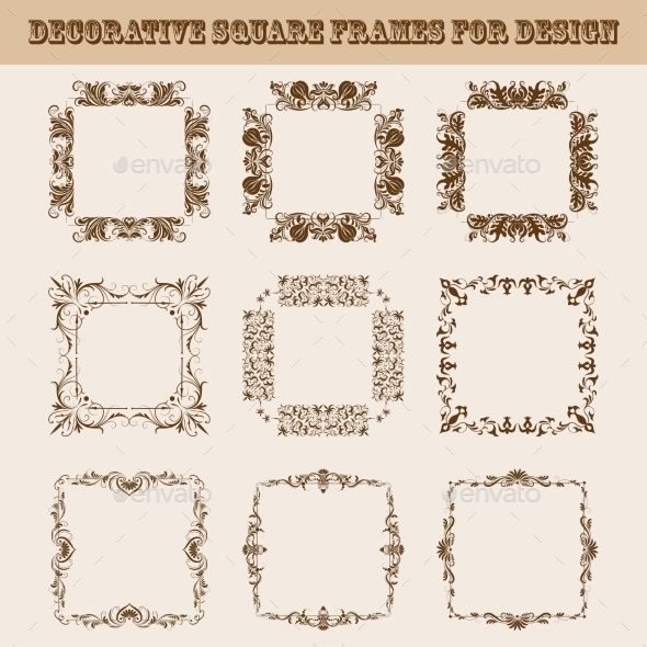 Set of Square Frames for Design - Backgrounds Decorative
