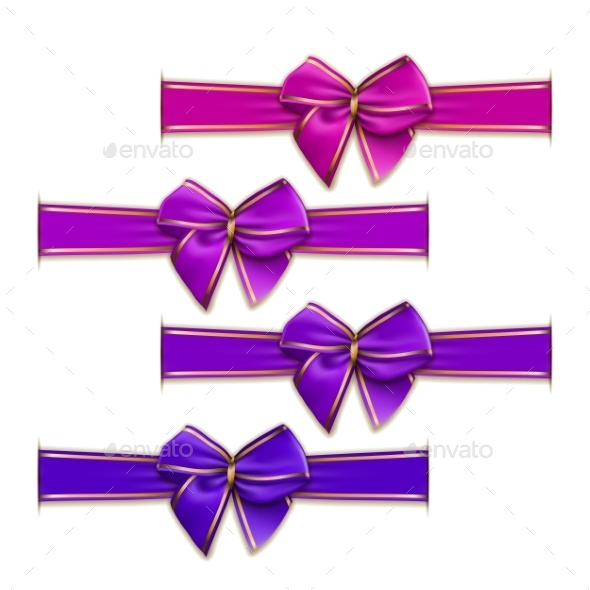 Set of Elegant Silk Colored Bows - Decorative Symbols Decorative