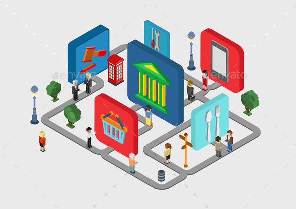 Flat 3D Isometric City Navigation Icons - Communications Technology