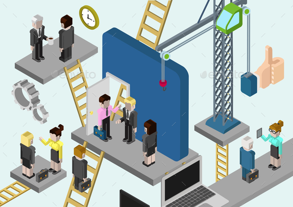 Flat 3D Isometric Business Building Company - Concepts Business