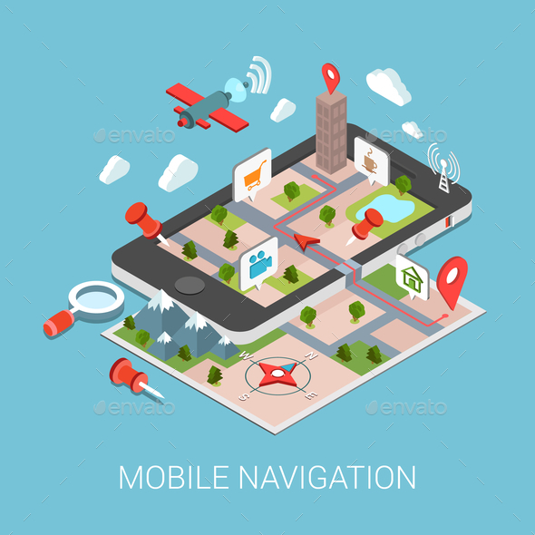 Flat 3D Isometric Mobile Navigation Infographic - Concepts Business