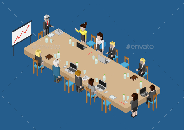 Flat 3D Web Isometric Business Meeting - Concepts Business