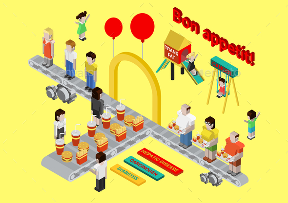 Flat 3D Isometric Fast Food Infographic - Concepts Business