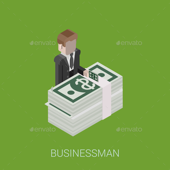 Flat 3D Isometric Billionaire - Concepts Business