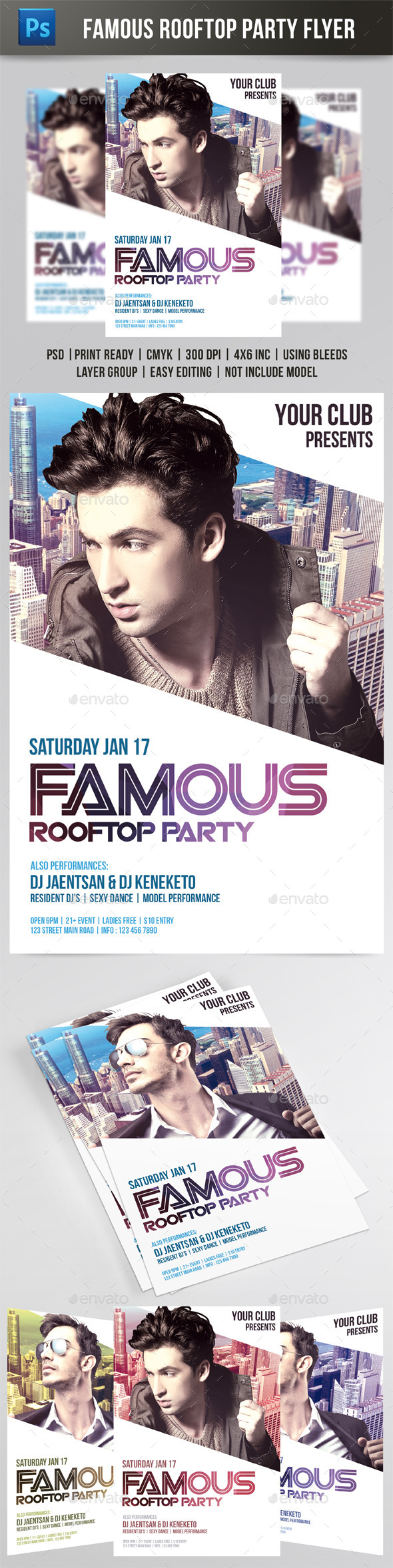 Famous Rooftop Party Flyer - Events Flyers