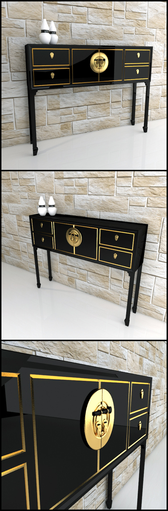 Oriental console table / sideboard - 3DOcean Item for Sale