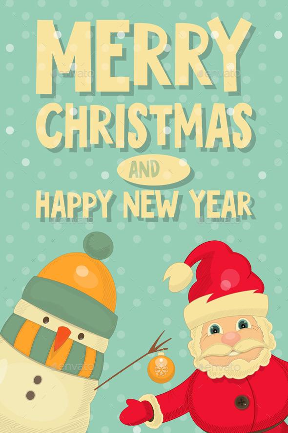Santa Claus and Snowman - Christmas Seasons/Holidays