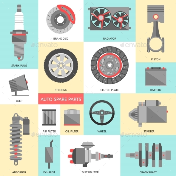 Set of Auto Spare Parts. Car Repair Icons in Flat  - Technology 3D Renders