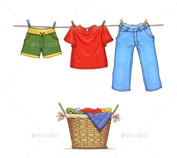 Clothes on Rope and Basket with Wear - Man-made Objects Objects
