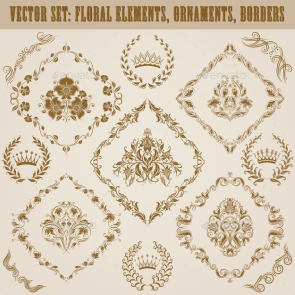 Set of Damask Ornaments - Patterns Decorative