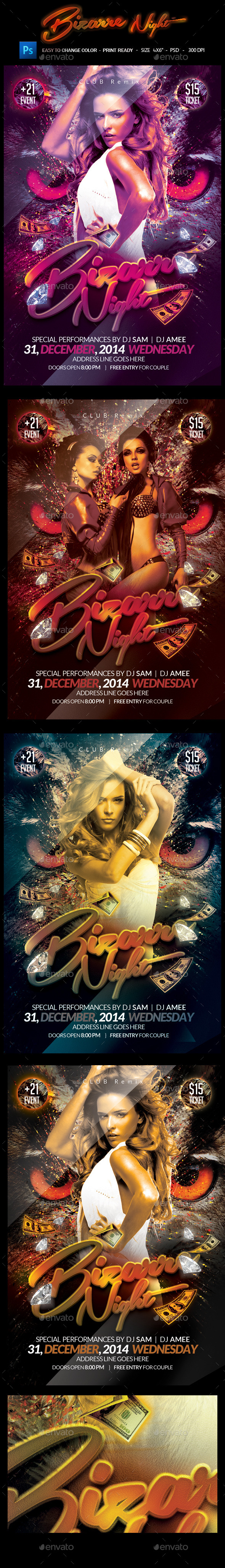 Bizzare Night Party Flyer - Clubs & Parties Events
