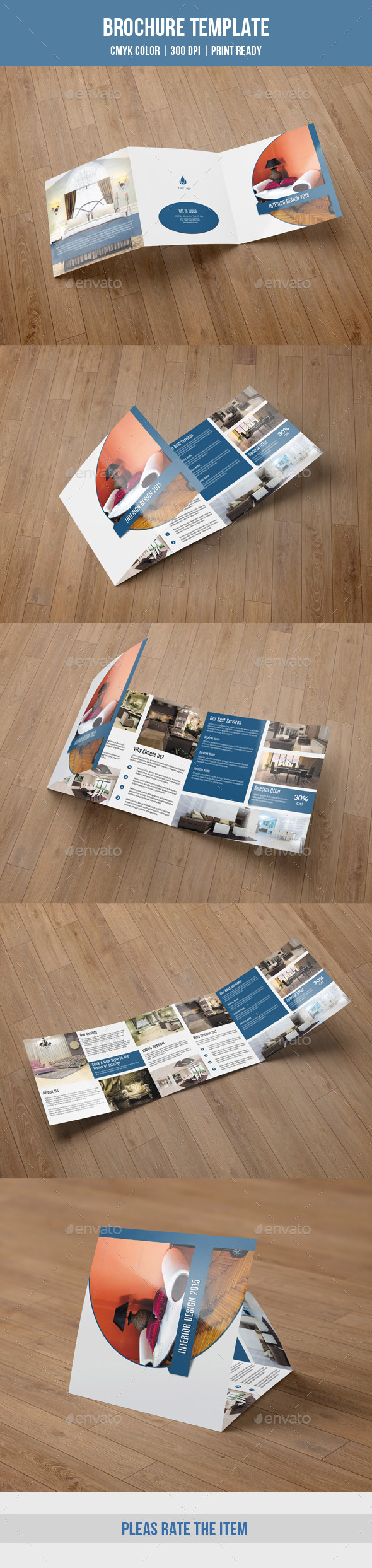 Square Trifold For Interior Design-V50 - Corporate Brochures
