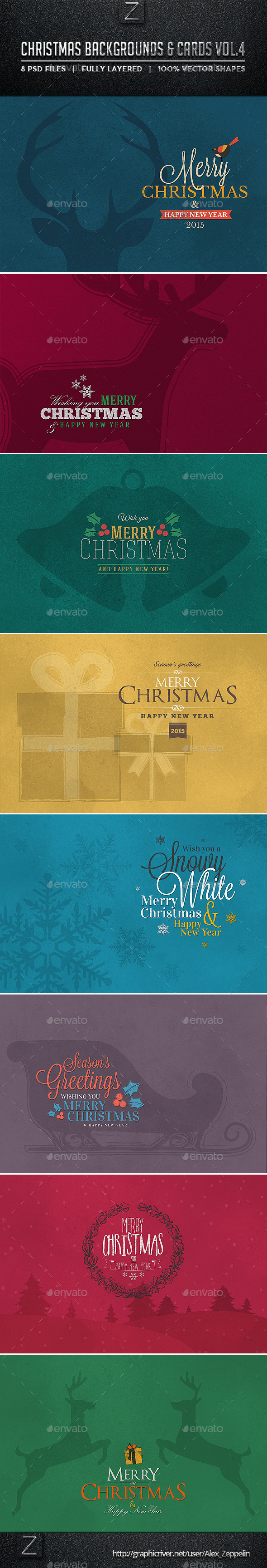 Christmas Backgrounds and Cards Vol.4 - Backgrounds Graphics
