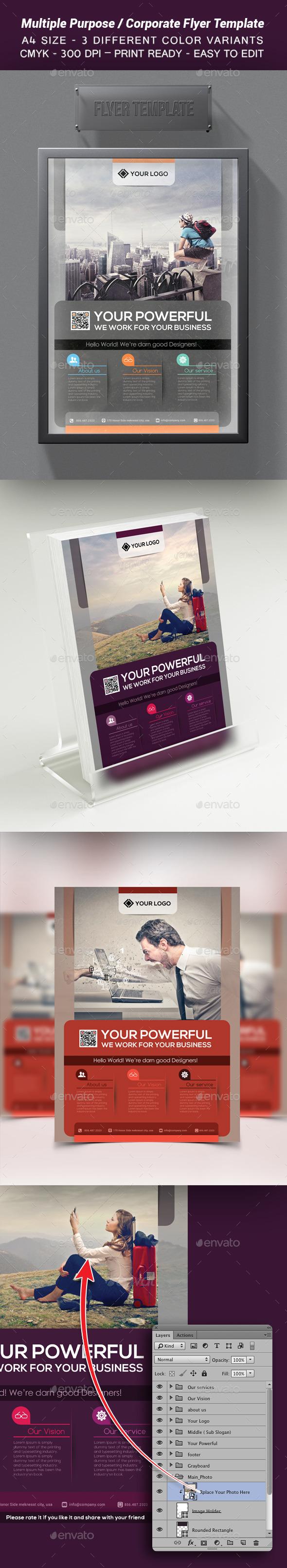 Multiple Purpose / Corporate Flyer Template - Corporate Business Cards
