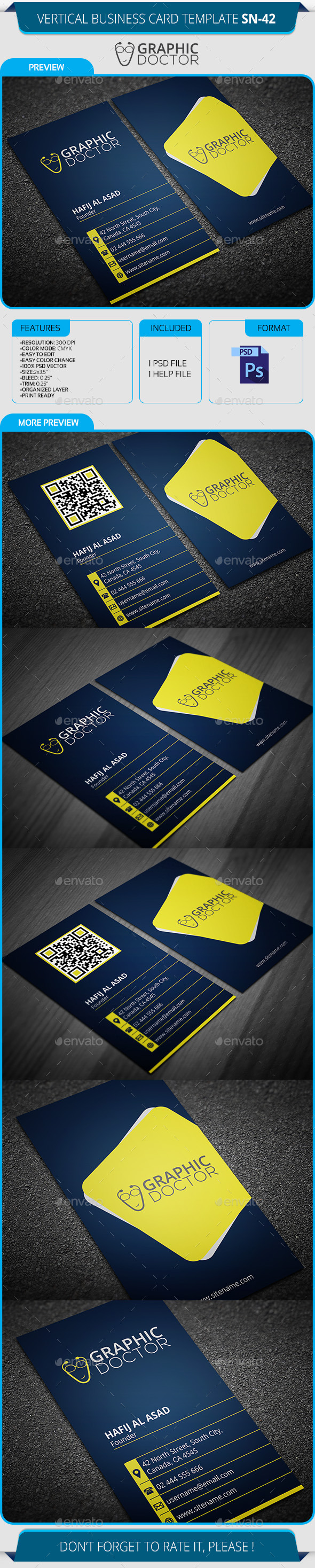 Vertical Business Card Template SN-42 - Creative Business Cards