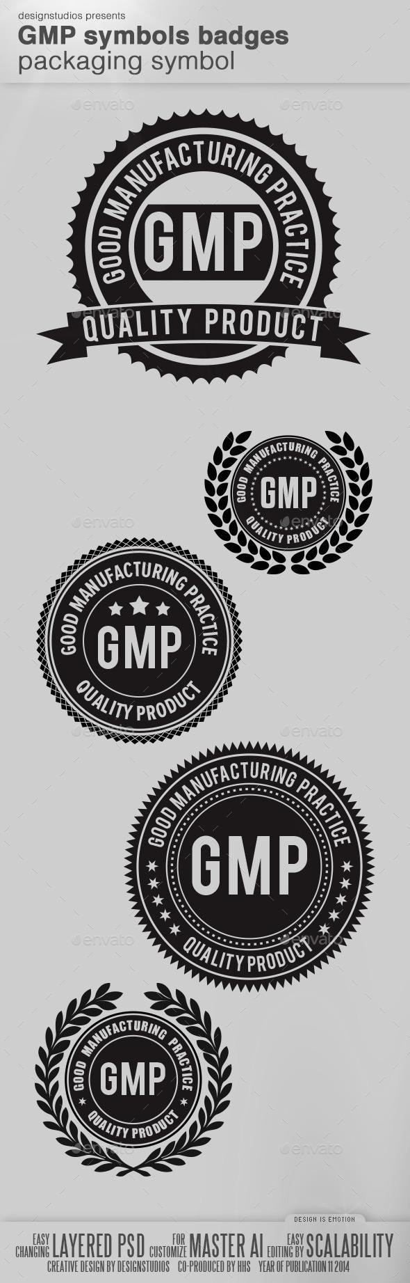 GMP Symbols Badge Packaging Symbol - Badges & Stickers Web Elements