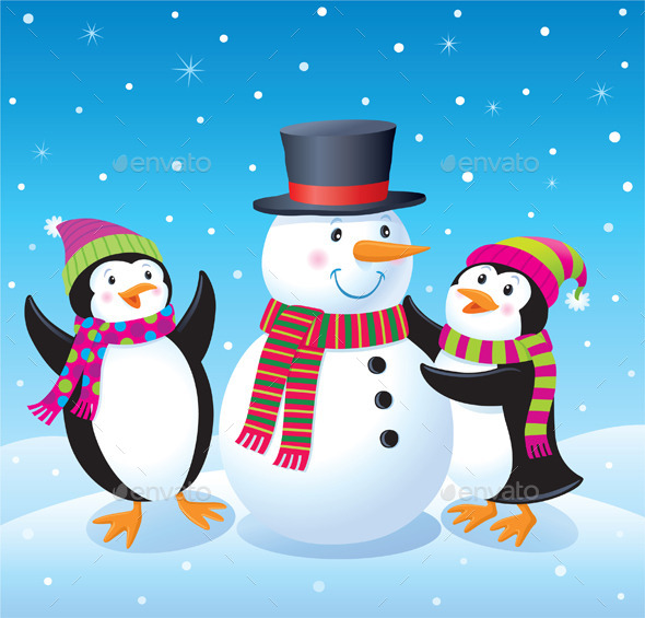 Penguins Making A Snowman - Christmas Seasons/Holidays