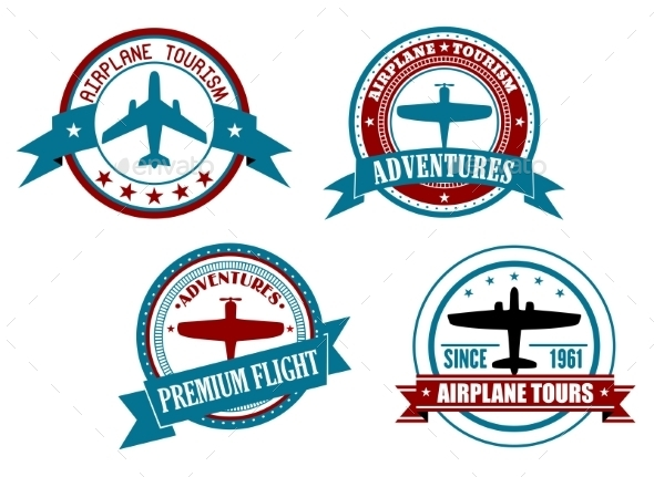 Airplane Tours and Adventures Badges - Travel Conceptual