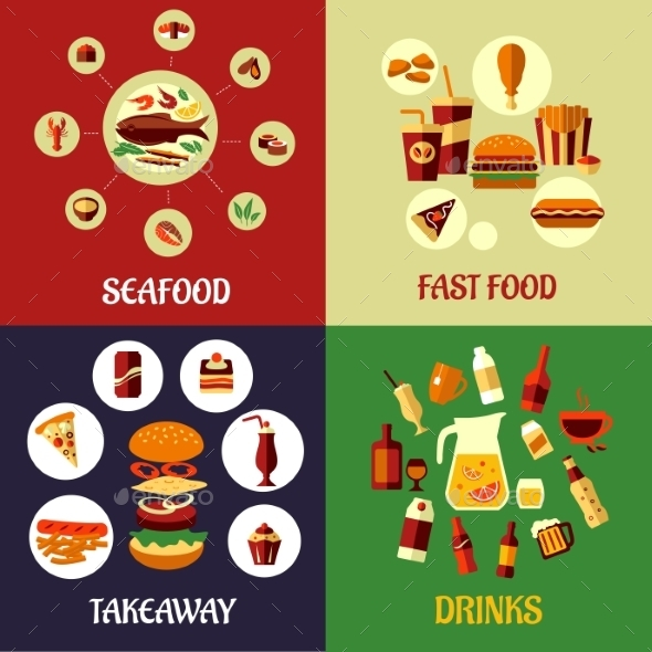 Seafood, Fast Food and Drinks Flat Concept - Food Objects
