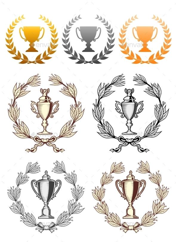 Cup Trophies with Laurel Wreath - Decorative Symbols Decorative