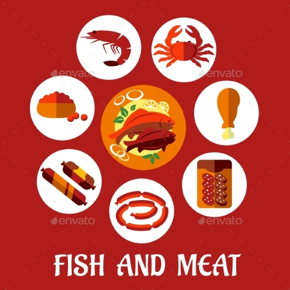 Seafood and Mat Flat Icons - Food Objects
