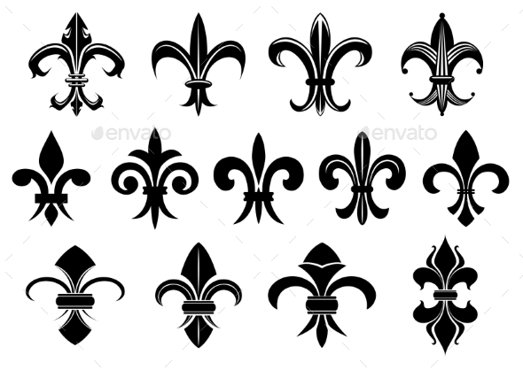 Black Royal Fleur de Lis Flowers Set - Decorative Symbols Decorative