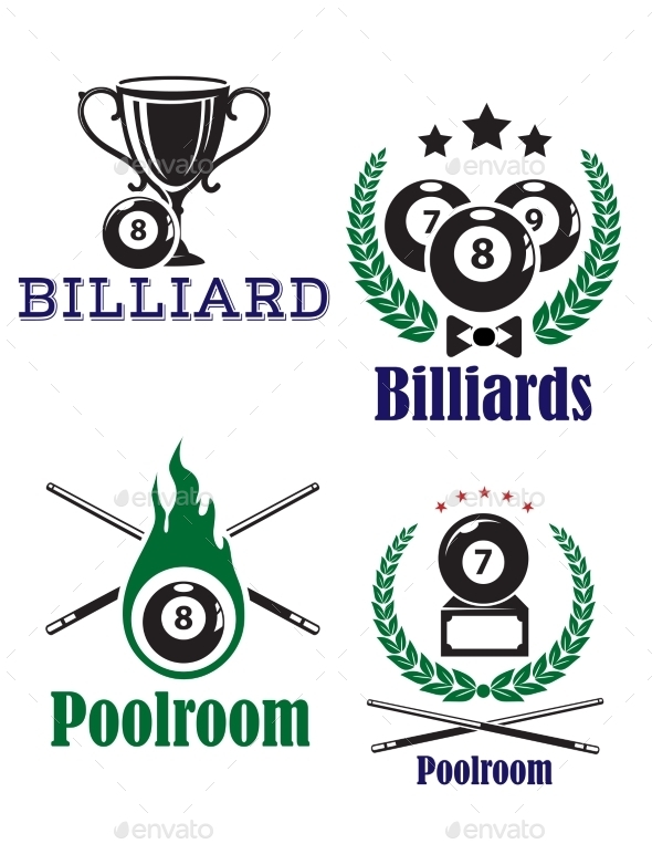 Billiards or Poolroom Emblems - Sports/Activity Conceptual