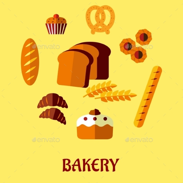Bakery Flat Icon Set on Yellow Background - Food Objects