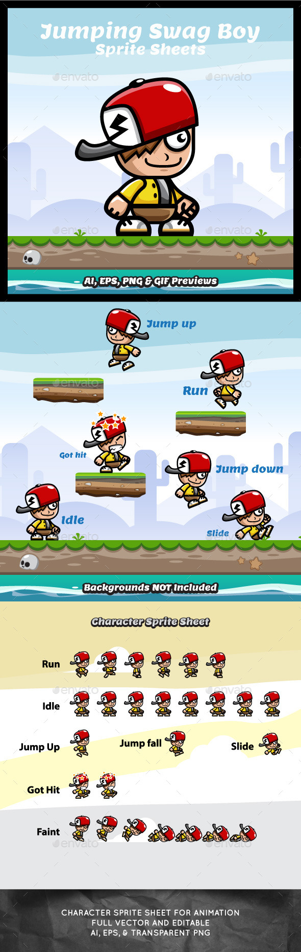Running and Jumping Swag Boy Spritesheets - Sprites Game Assets