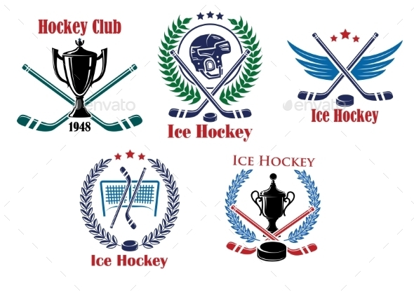 Ice Hockey Heraldic Emblems and Badges - Sports/Activity Conceptual